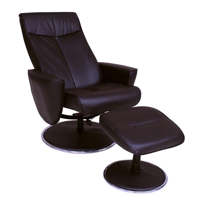 skagen l nestol i klassisk design med h j komfort inkl fodskammel brun. Black Bedroom Furniture Sets. Home Design Ideas