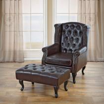 Chesterfield stol inkl fodskammel - brun