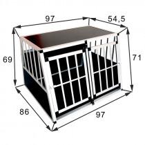 Dobbelt XL Premium Hundebur / Transportbur UDEN Skillevæg til 1-2 hunde